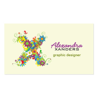 """Floral Monogram """"X"""" Initial Business Card"""