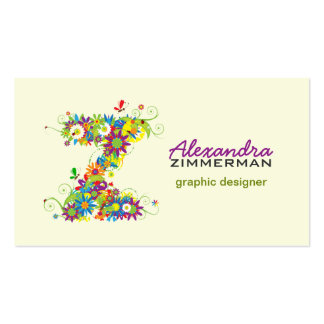 """Floral Monogram """"Z"""" Initial Business Card"""