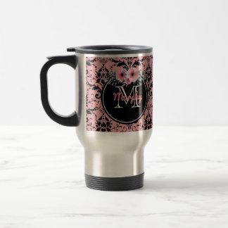 Floral Monogrammed |  Black Pink Damask Travel Mug