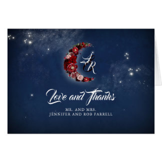 Floral Moon Celestial Blue and Red Thank You Card