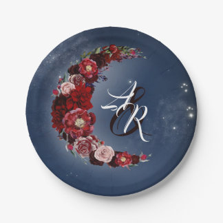 Floral Moon | Navy and Burgundy Wedding Paper Plate