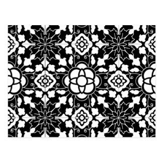 Floral Moroccan Tile, Black and White Postcard