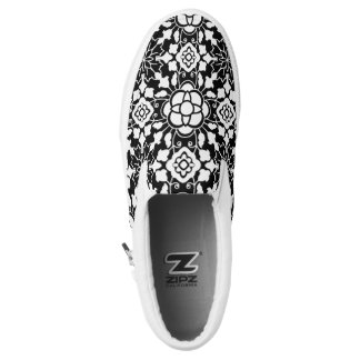 Floral Moroccan Tile, Black and White Slip-On Shoes