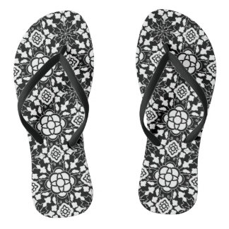 Floral Moroccan Tile, Black  and White Thongs