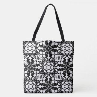 Floral Moroccan Tile, Black and White Tote Bag