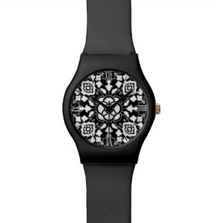 Floral Moroccan Tile, Black and White Watch