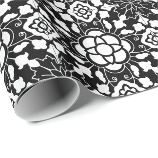 Floral Moroccan Tile, Black and White Wrapping Paper
