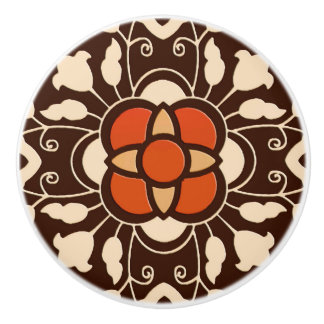Floral Moroccan Tile, Brown, Rust and Beige Ceramic Knob