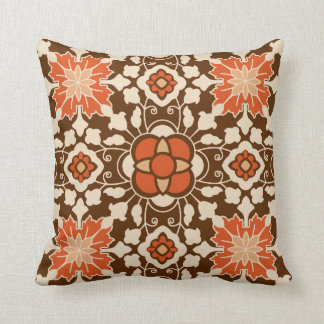 Floral Moroccan Tile, Brown, Rust and Beige Cushion