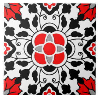 Floral Moroccan Tile, Deep Red, Black  and White Tile