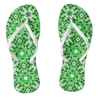 Floral Moroccan Tile, Emerald and Lime Green Thongs