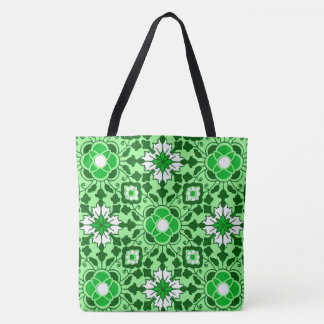 Floral Moroccan Tile, Emerald and Lime Green Tote Bag