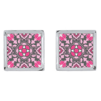 Floral Moroccan Tile, Fuchsia Pink & Gray / Grey Silver Finish Cuff Links