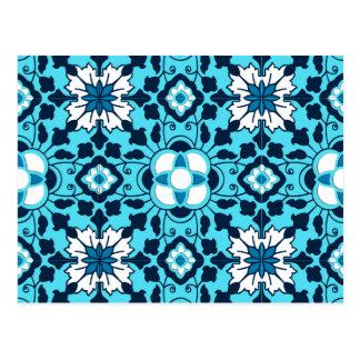 Floral Moroccan Tile, Indigo, Sky Blue and White Postcard