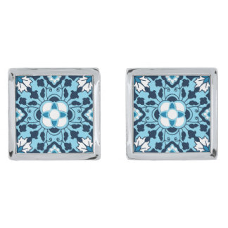 Floral Moroccan Tile, Indigo, Sky Blue and White Silver Finish Cufflinks