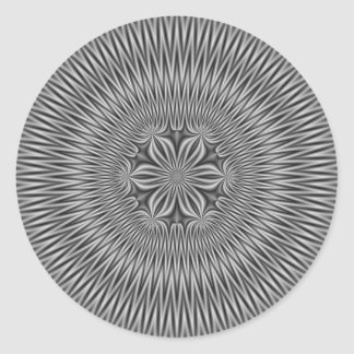 Floral Motif in Monochrome Round Sticker