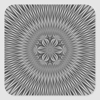 Floral Motif in Monochrome Square Sticker