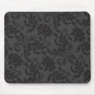 Floral Motives Guipure Black Mousepad