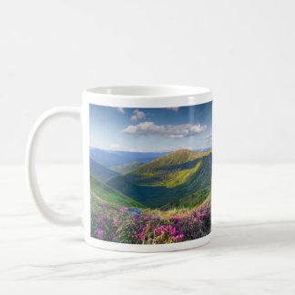 Floral Mountain Landscape Basic White Mug
