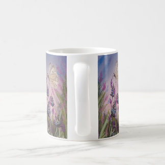 Floral mug, lavender and white butterfly painting coffee mug