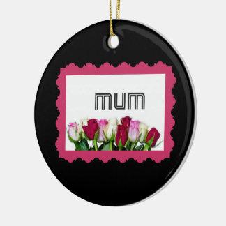 Floral Mum Stamp Round Ceramic Decoration