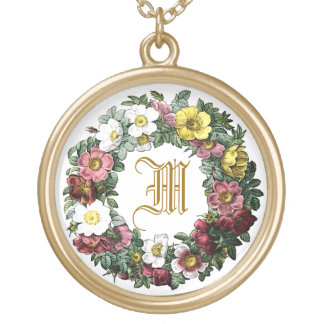floral name,family name, initial,monogram round pendant necklace