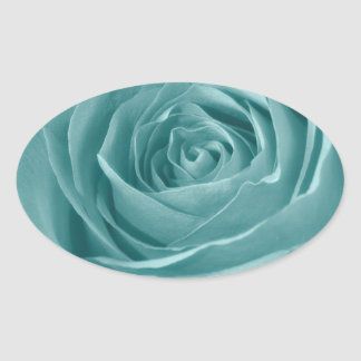 Floral Nature Abstract  Photo Vibrant Aqua Rose Oval Sticker
