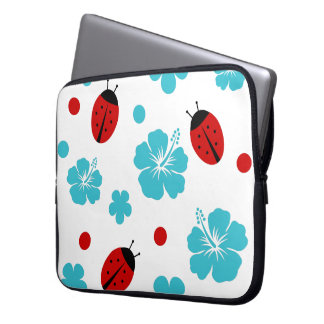 Floral Nature Ladybugs Laptop Sleeve
