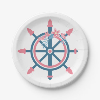 Floral Nautical Ship Wheel Pink Blue Flower Party 7 Inch Paper Plate
