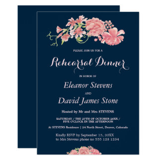 Floral navy and blush wedding rehearsal dinner card