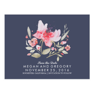 floral navy and pink watercolor save the date postcard