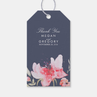 Floral Navy and Pink Watercolor Wedding Gift Tags