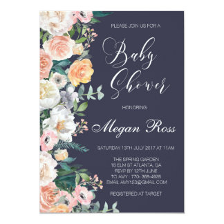 Floral Navy Baby Shower Invitation