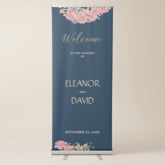 Floral navy blush welcome reception wedding script retractable banner