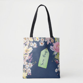 Floral Navy Peony with Sketched Tag Tote Bag