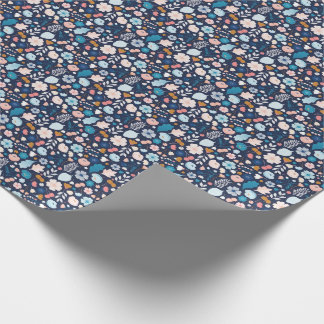 Floral Navy Wrapping Paper