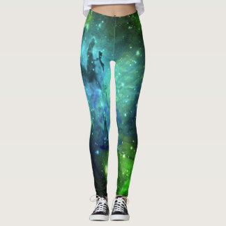 Floral Nebula Blue and Green Leggings