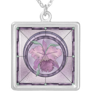 Floral Necklace Beautiful Purple Orchid