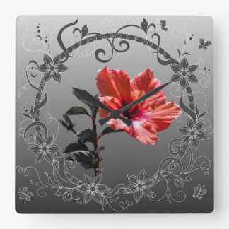 floral network hibiscus in frame square wall clock