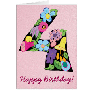 Floral Number Four 4 Cartoon Bright Stylish Cute Card