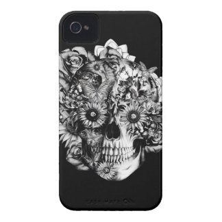 Floral Ohm Skull Illustration in black and white. Case-Mate iPhone 4 Case