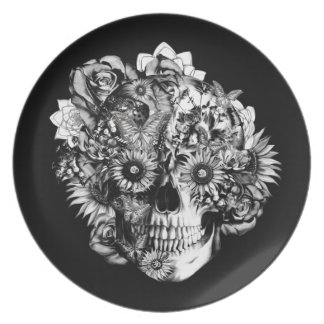 Floral Ohm Skull Illustration in black and white. Plate