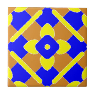 Floral Orange Blue And Yellow Spanish Tile