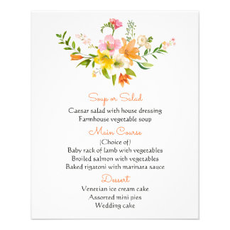 Floral Orange Menu Lily Flowers  Black Stripes