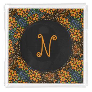 Floral Orange Pattern Custom Monogram Initial Acrylic Tray