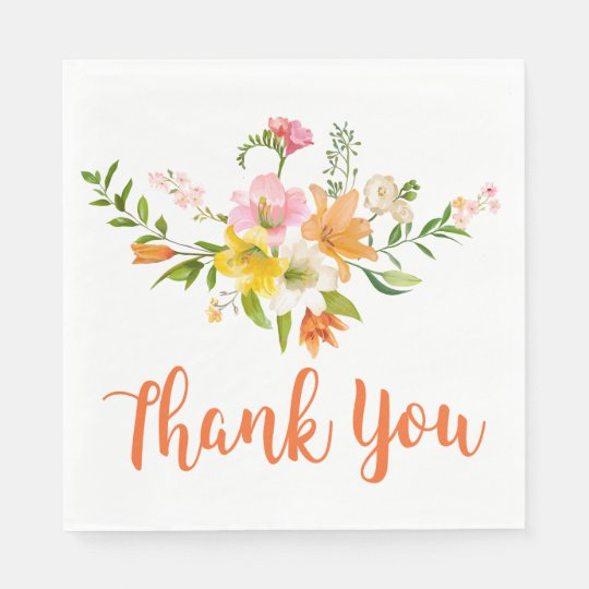Floral Orange Thank You Lily Flowers Paper Napkins