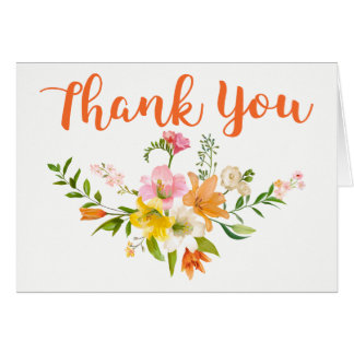 Floral Orange Thank You Lily Flowers Pink Card