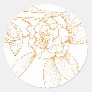 Floral Orange Wedding Invitation Envelope Seals Round Sticker