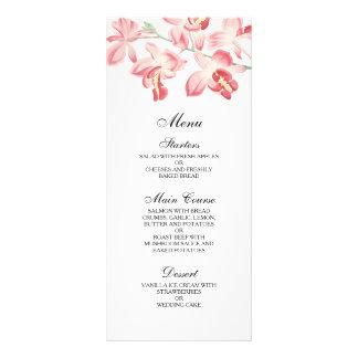 Floral orchid elegant modern wedding menu customized rack card