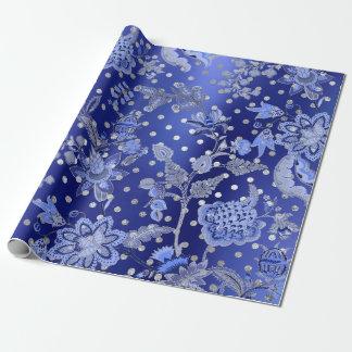 Floral Oriental Kimono Sapphire Blue Silver Dots Wrapping Paper